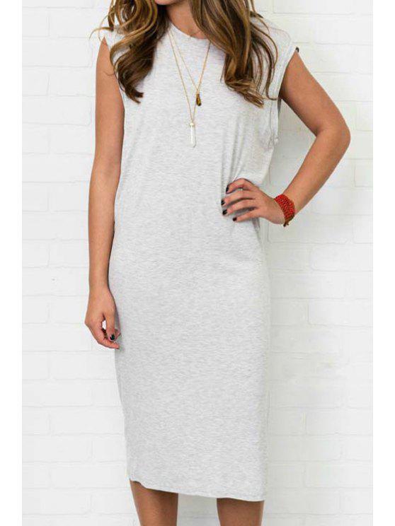 new Gray Sleeveless Side Slit Dress - GRAY XL