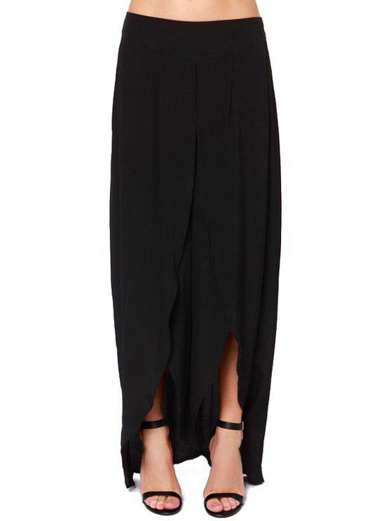 women Solid Color High Slit Zipper Fly Pants - BLACK XL