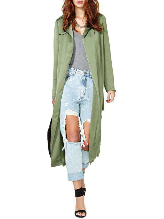 shops Turn-Down Collar Solid Color Belt Trench Coat - ARMY GREEN XL