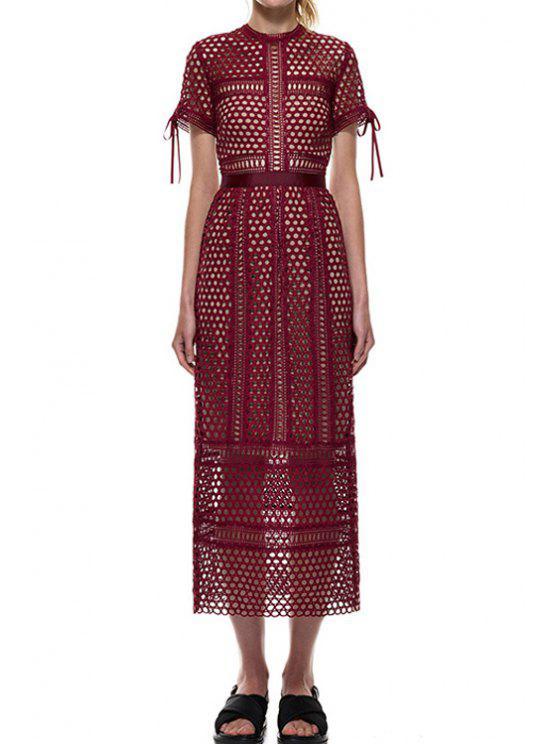 trendy Short Sleeve Mesh Design Spliced Lace Dress - WINE RED M