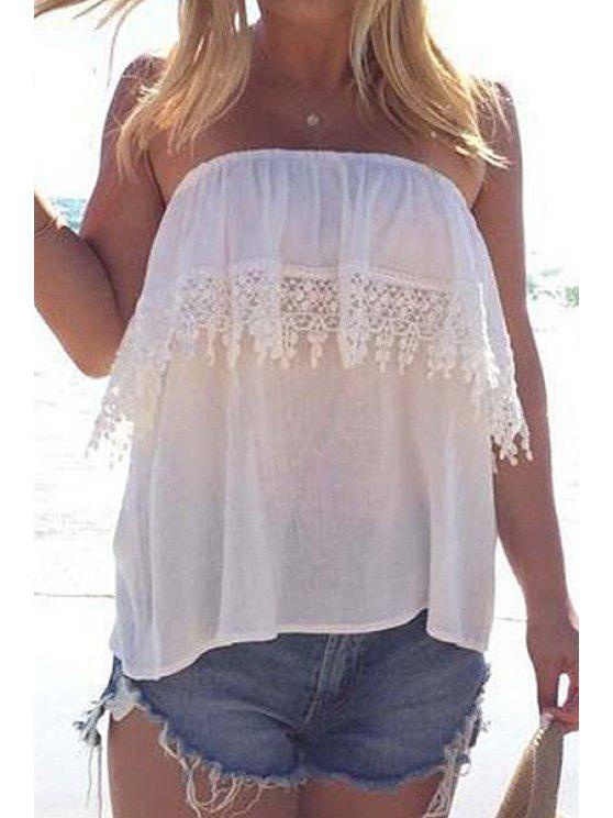 outfit Lace Spliced Strapless White Tank Top - WHITE S