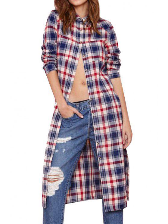 womens Polo Collar Plaid Slit Long Sleeve Shirt - CHECKED S