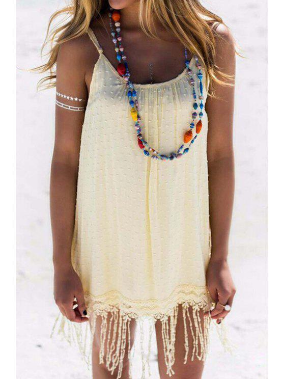 outfits Solid Color Spaghetti Strap Tassels Dress - LIGHT YELLOW XL