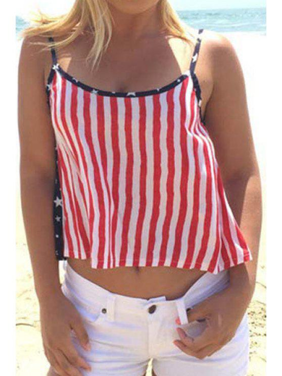 hot American Flag Print Spaghetti Strap Tank Top - AS THE PICTURE S