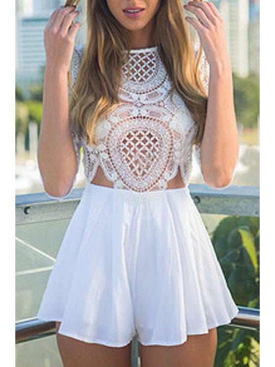 buy White Lace Hollow Half Sleeve Playsuit - WHITE M