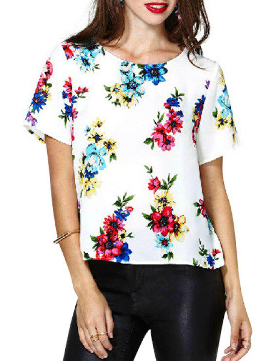 outfit Floral Print Backless Short Sleeve T-Shirt - WHITE S