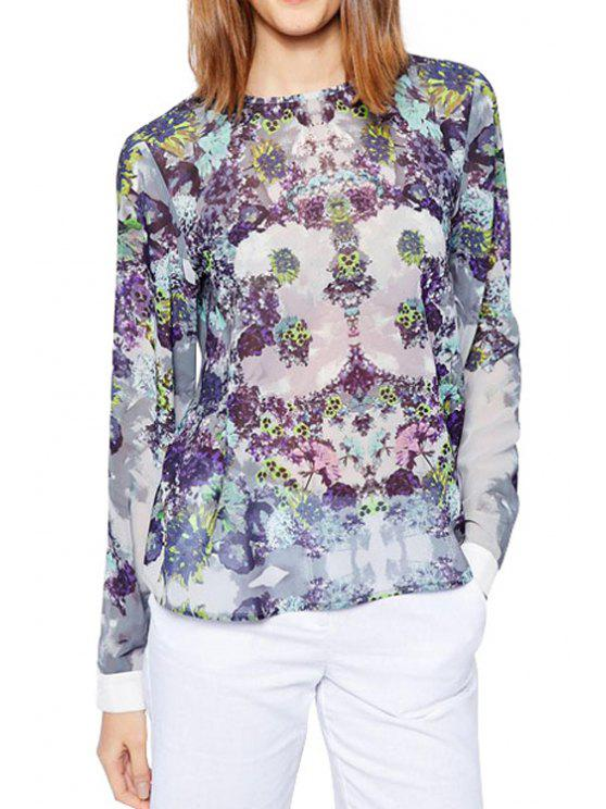 best Tiny Floral Print Back Buttons Fly Shirt - PURPLE S