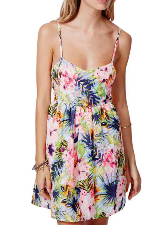 outfit Spaghetti Strap Tropical Print Sleeveless Dress - COLORMIX L