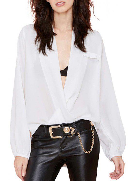 Plunging cuello color sólido manga larga blusa - Blanco S