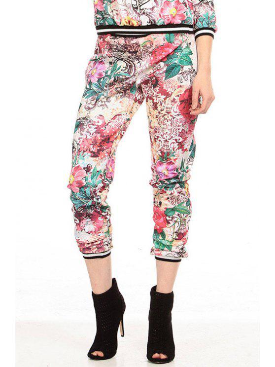 shop Floral Print Narrow Feet Capri Pants - RED XS