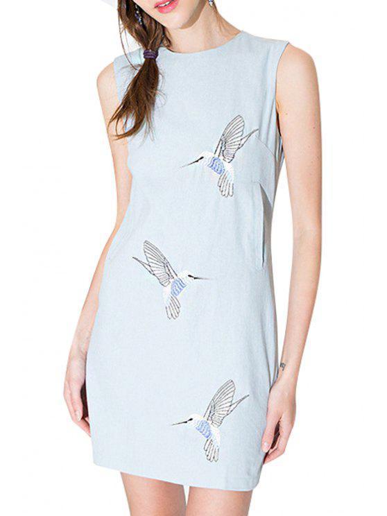trendy Bird Embroidery Back Zipper Sleeveless Dress - BLUE S