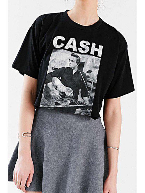 affordable Short Sleeve Figure Print Black T-Shirt - BLACK XS