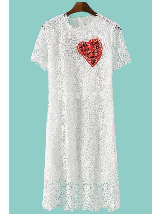buy White Crochet Flower Short Sleeve Dress - WHITE S