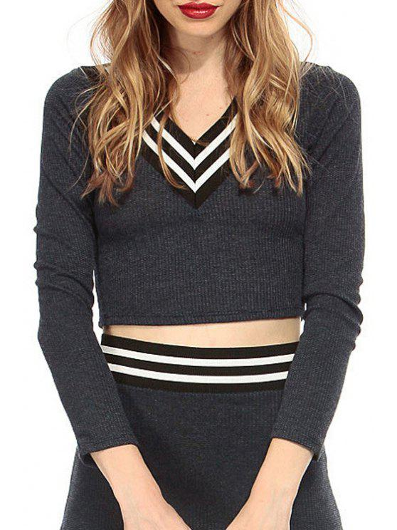 shop V-Neck Long Sleeve Stripes Knitted Crop Top - GRAY S
