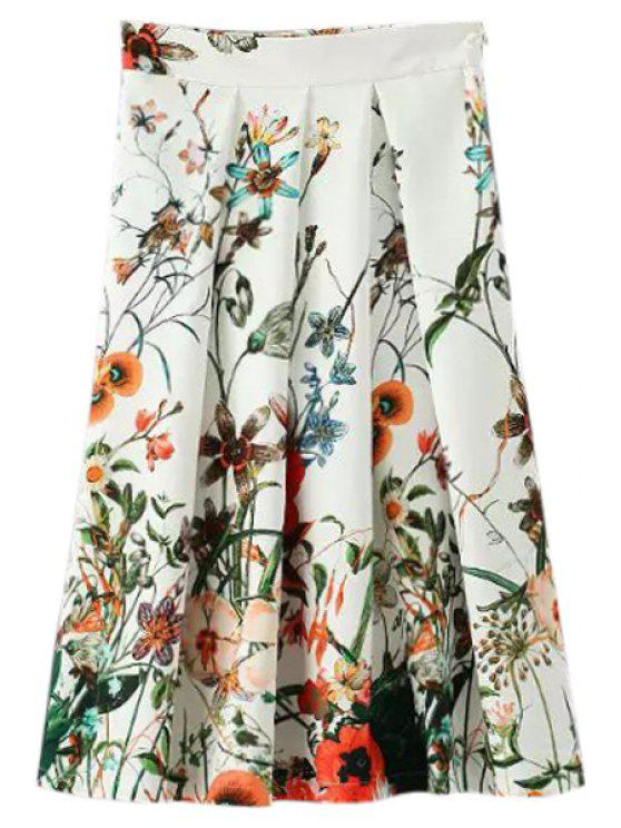 fashion Floral Print Pleated Midi Skirt - AS THE PICTURE S