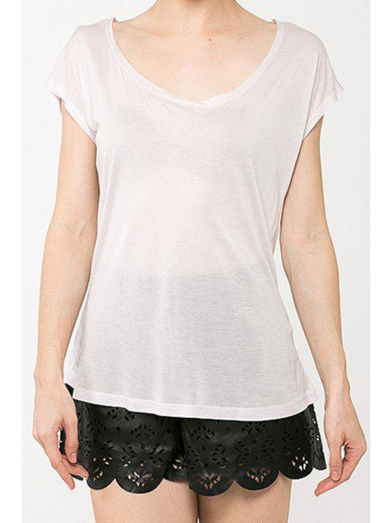 womens Short Sleeve Cut Out White T-Shirt - WHITE M