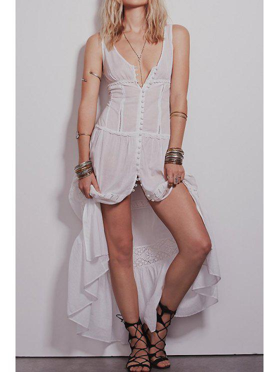 womens Solid Color Lace Splicing See-Through Sleeveless Dress - WHITE S