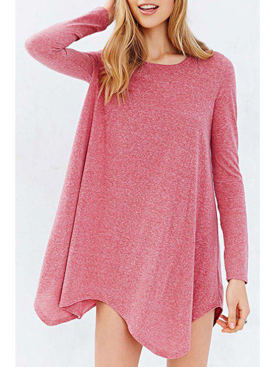 best Long Sleeve Irregular Hem Pink T-Shirt - PINK XS