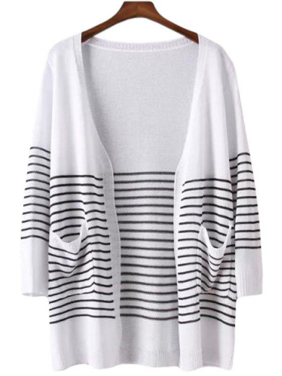 online Color Block Stripe Pocket Long Sleeve Cardigan - WHITE ONE SIZE(FIT SIZE XS TO M)