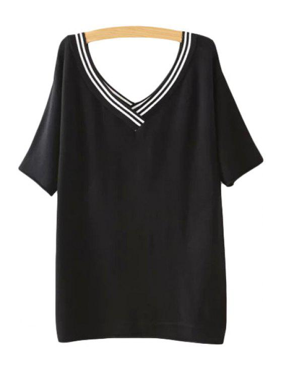 outfits Color Block Stripe Short Sleeve Sweater - BLACK ONE SIZE(FIT SIZE XS TO M)