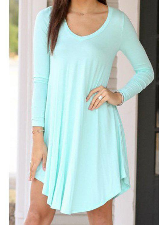 shops Light Blue Long Sleeve A Line Dress - LIGHT BLUE S