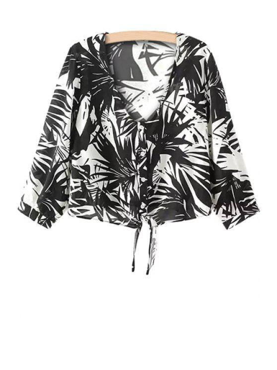 buy Leaves Print Tie-Up 3/4 Sleeve Shirt - BLACK S