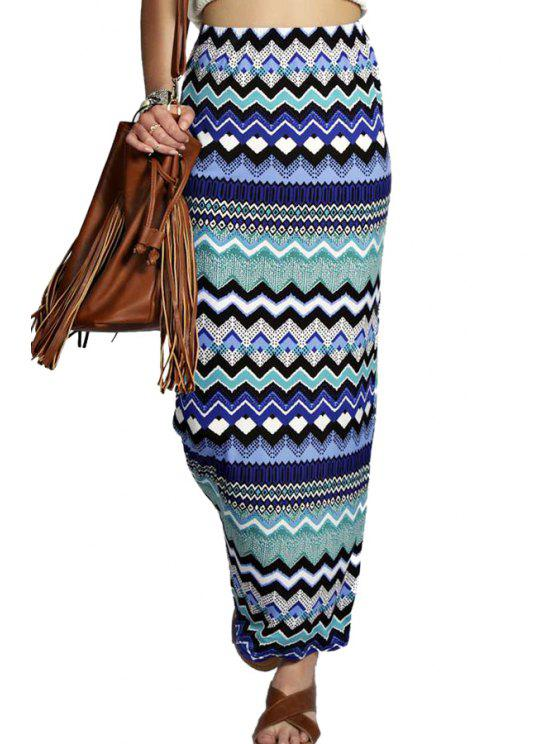 trendy Zig Zag Print Pencil Skirt - COLORMIX S