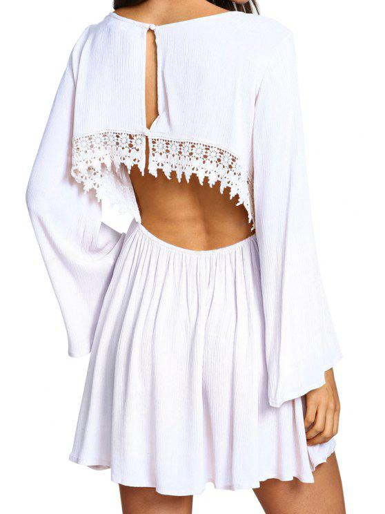 shop Solid Color Long Sleeve Open Back Dress - WHITE S