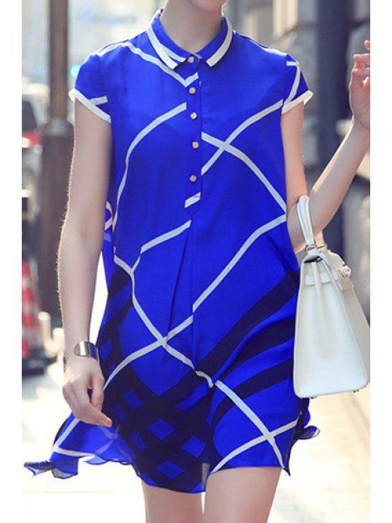 new Checked Print Turn-Down Collar Dress - BLUE M