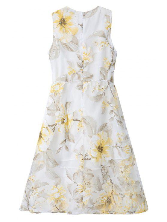 chic Floral Print Voile A-Line Sundress - WHITE S