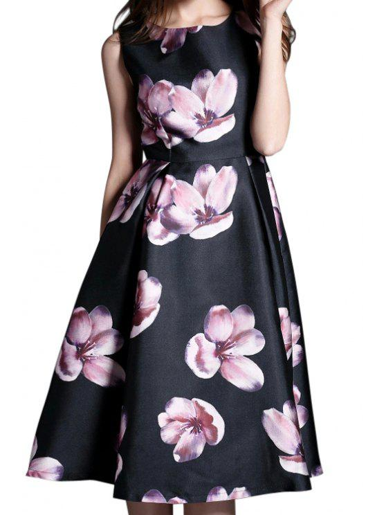 affordable Flower Print A Line Midi Sundress - PURPLISH BLUE S