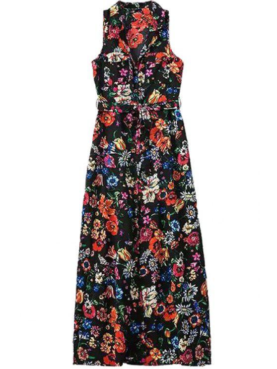 online V-Neck Floral Print Sleeveless Maxi Dress - COLORMIX S