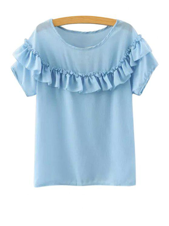 online Ruffled Short Sleeve Chiffon Blouse - BLUE M