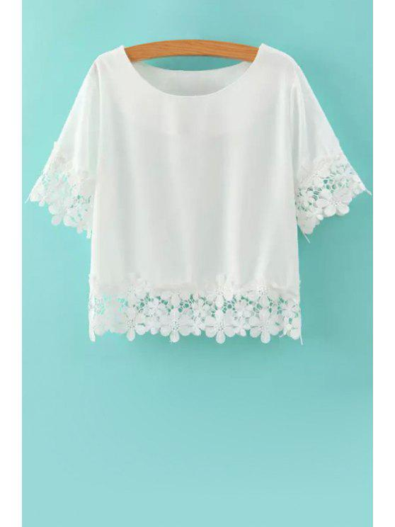 chic Short Sleeves Lace Spliced T-Shirt - WHITE M