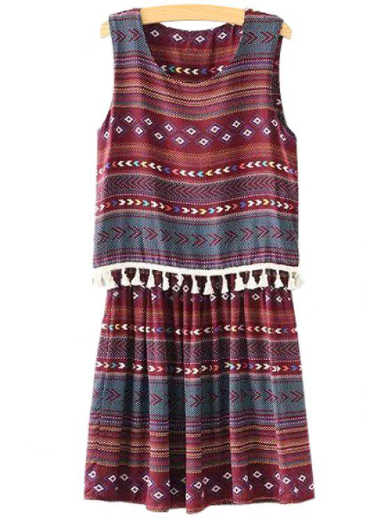 trendy Argyle Print Tassel Splicing Sleeveless Dress - COLORMIX ONE SIZE(FIT SIZE XS TO M)