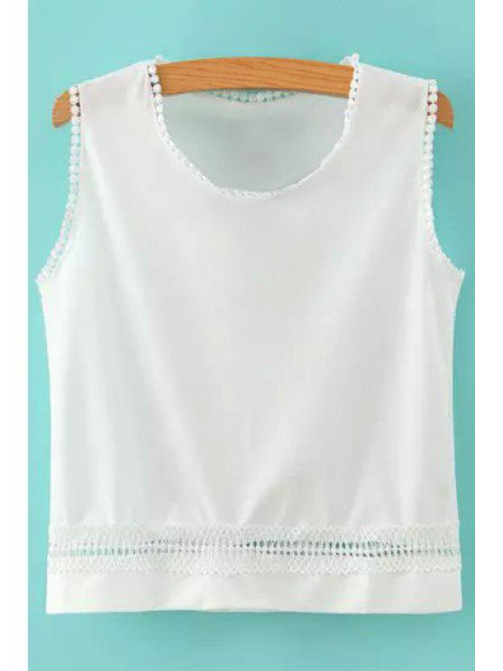 best Hollow Solid Color Tank Top - WHITE M