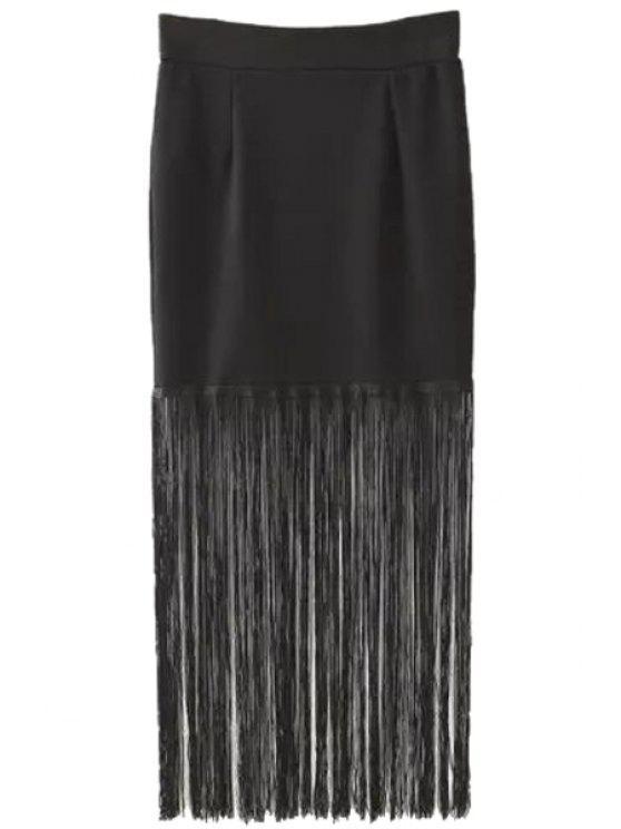 sale Tassels Black High Waisted Skirt - BLACK S