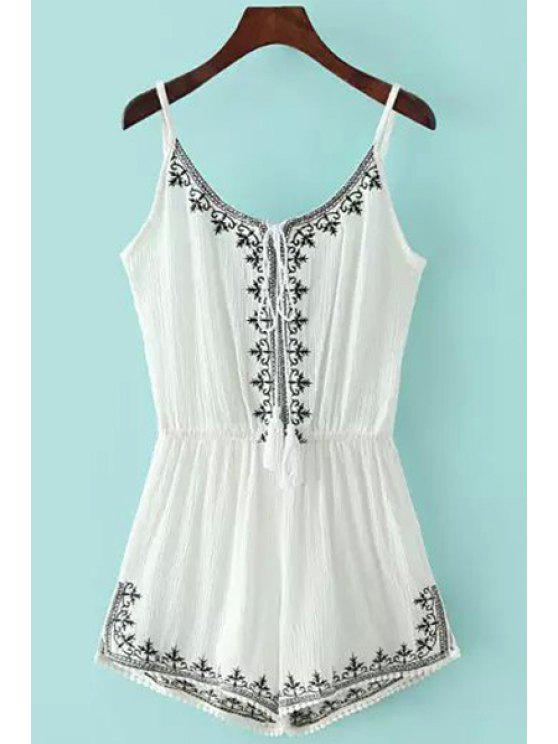 women Spaghetti Strap Tie-Up Embroidery Sleeveless Romper - WHITE M