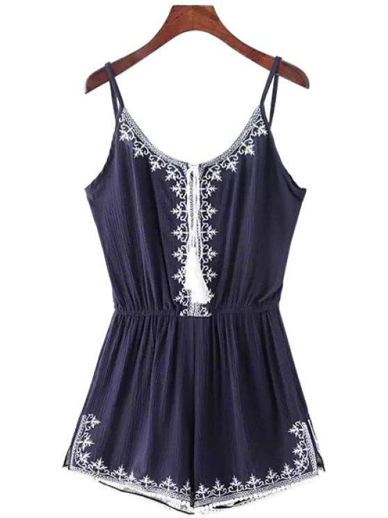 ladies Spaghetti Strap Tie-Up Embroidery Sleeveless Romper - BLUE M