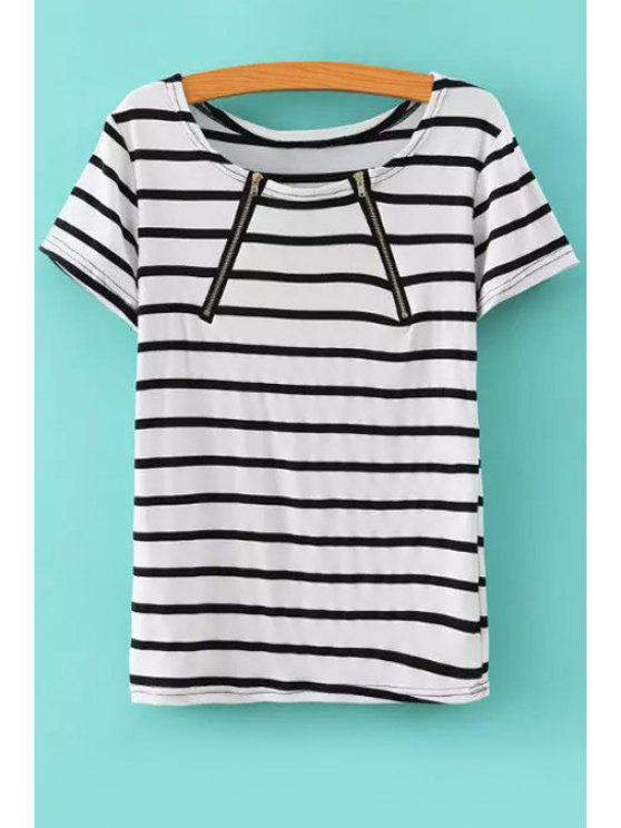 buy Stripes Short Sleeve T-Shirt - WHITE S
