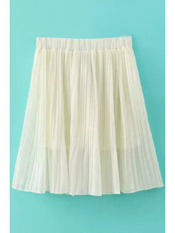 women Pleated Solid Color Elastic Waisted Skirt - WHITE S