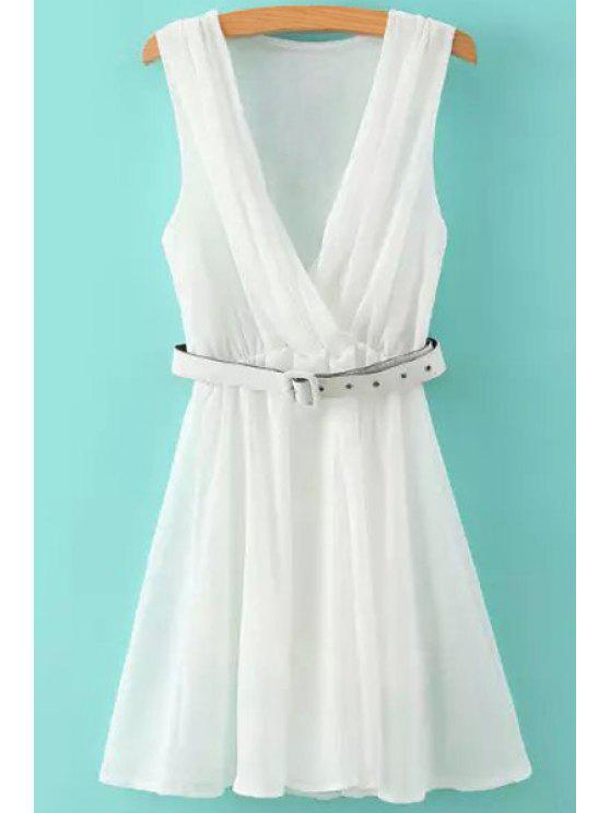 hot Solid Color Sleeveless A Line Dress - WHITE S