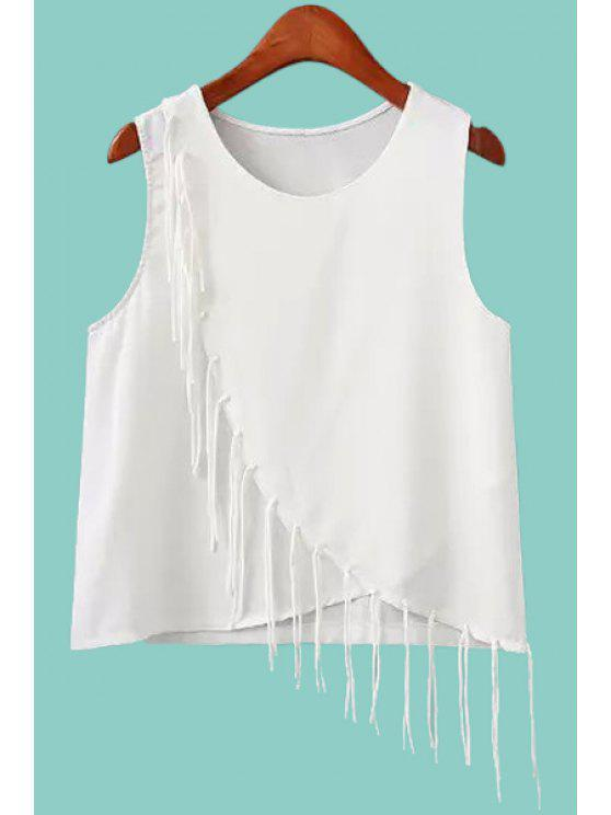 best Jewel Neck Fringe Splicing Solid Color Tank Top - WHITE S