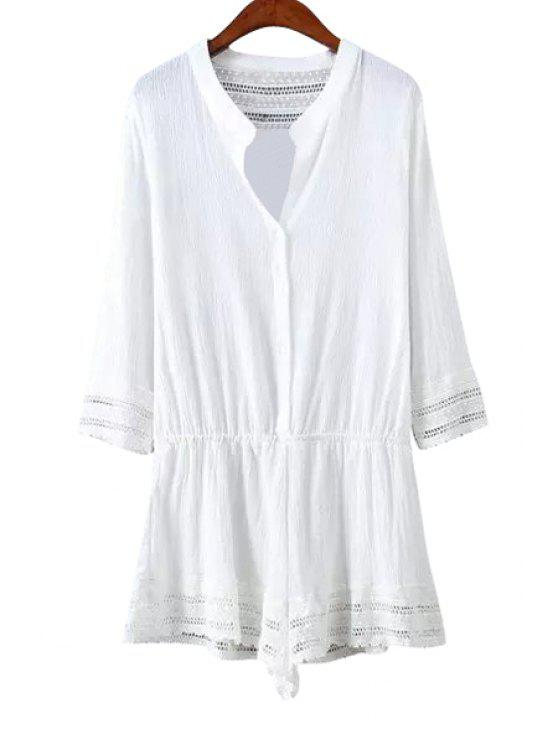 new Lace Splicing Openwork 3/4 Sleeve Romper - WHITE L