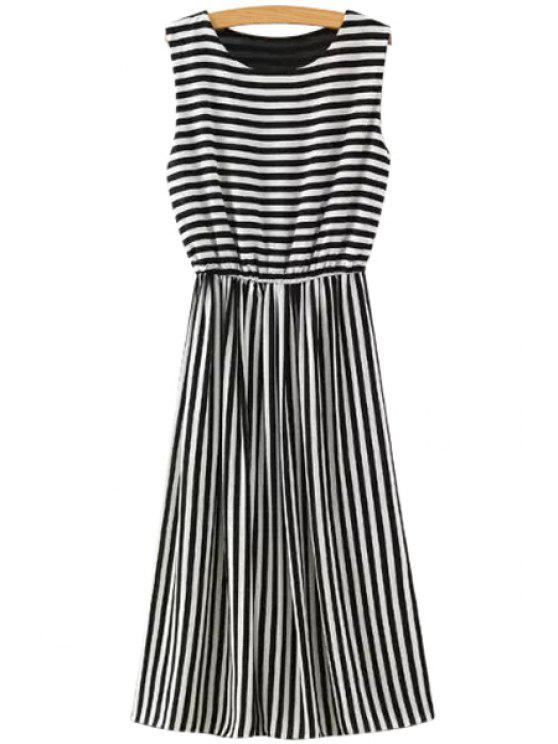 lady Stripes A Line Chiffon Sundress - BLACK S