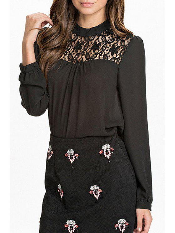 chic Lace Spliced Hollow Out Chiffon Blouse - BLACK XS
