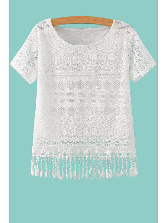 new White Hollow Short Sleeve T-Shirt - WHITE S