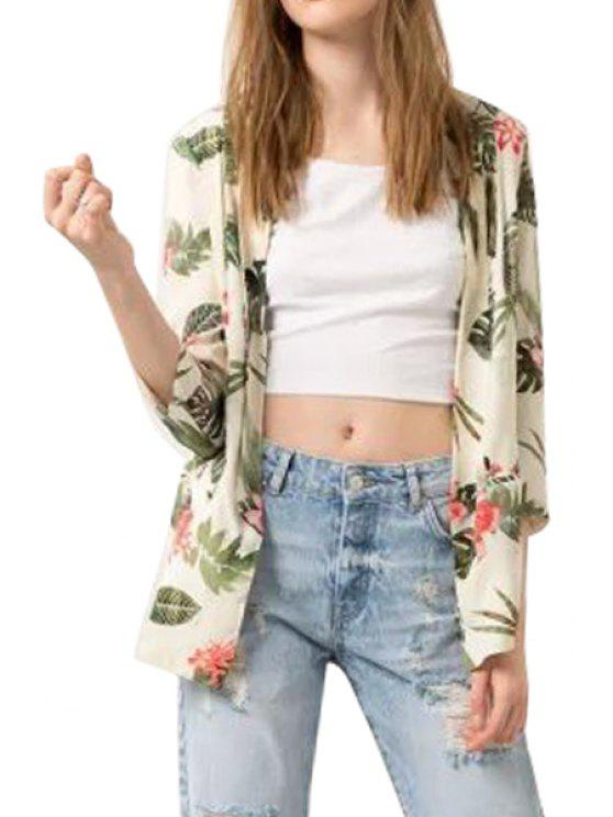 sale Leaves Floral Print 3/4 Sleeve Blazer - GREEN S