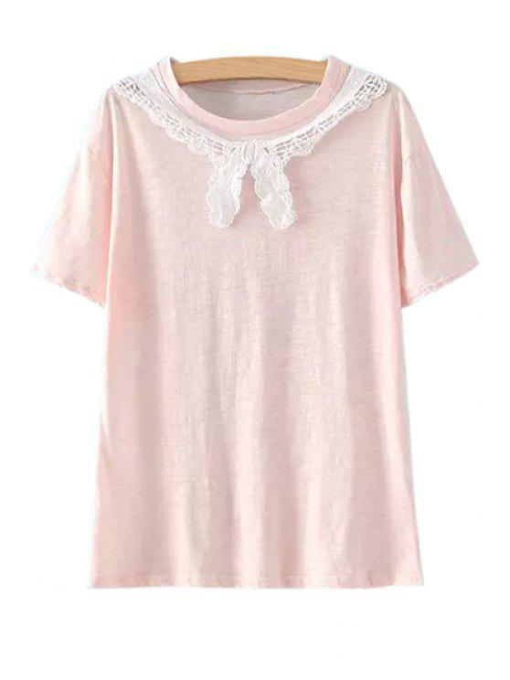 shop Short Sleeves Lace Splicing T-Shirt - PINK ONE SIZE(FIT SIZE XS TO M)