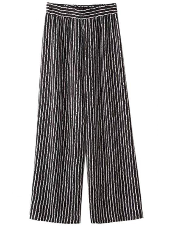 new Striped Wide Leg Pants - BLACK ONE SIZE(FIT SIZE XS TO M)